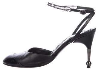 Chanel Cap-Toe Ankle Strap Pumps
