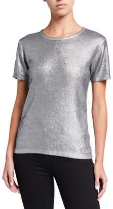 Neiman Marcus Majestic Paris for Metallic Crewneck Short-Sleeve Sweater