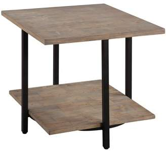 Emerald Home Turner Driftwood End Table with Wood Top, Metal Legs, And Open Storage Shelf