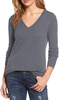 Blend of America Viottis Women's V-Neck Cashmere Wool Ribbed Pullover Sweater S