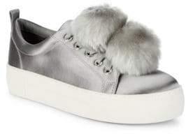 J/Slides Satin Pom-Pom Sneakers