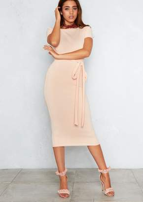 Missy Empire Missyempire Eva Peach Tie Waist Fitted Midi Dress