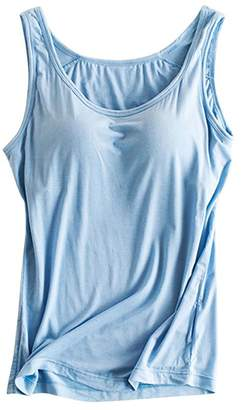 dd884ba2e3991 FOURSTEEDS Womens Modal Padded Bra Stretch Sleeveless Cami Tunic Pajama Tank  Tops Black US 2-