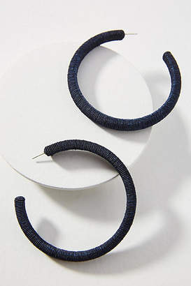 Suzanna Dai Large Silk-Wrapped Hoop Earrings