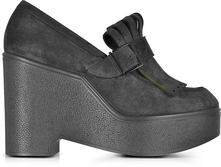 Robert Clergerie Boca Black Suede Wedge Loafer