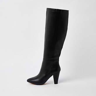 River Island Black leather knee high block heel boots