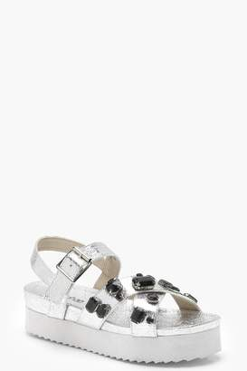 boohoo Embellished Cross Strap Flatform Sandals