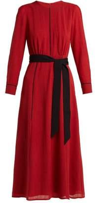 Cefinn - Tie Waist Voile Midi Dress - Womens - Red