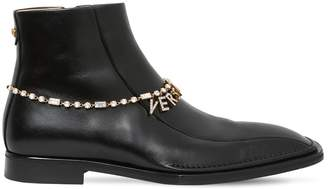 Versace Quentin Leather Boots W/ Logo Chain
