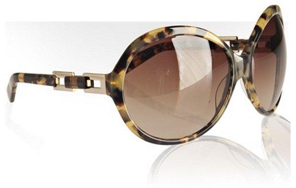 Tory Burch brown spotty tortoise oversized round sunglasses