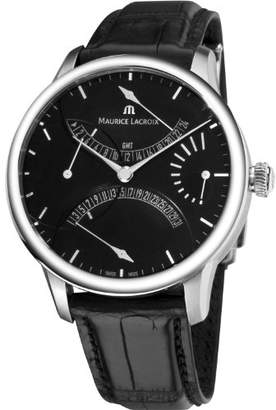 Maurice Lacroix Men's 'Masterpiece' Swiss Automatic Stainless Steel and Leather Casual Watch
