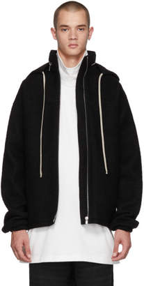 Rick Owens Black Wool Windbreaker Jacket