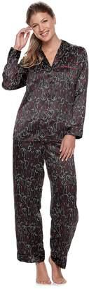 Apt. 9 Women's Notch Collar Satin Shirt & Pants Pajama Set
