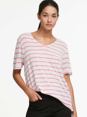 DKNY Striped V-Neck Tee White-Pink XS