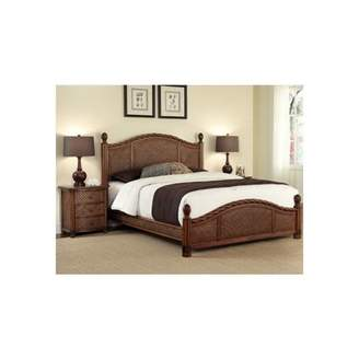 Home Styles Marco Island Queen Bed and Night Stand, Cinnamon