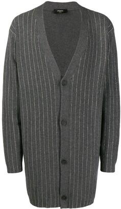 Fendi metallic-stripe long-line cardigan