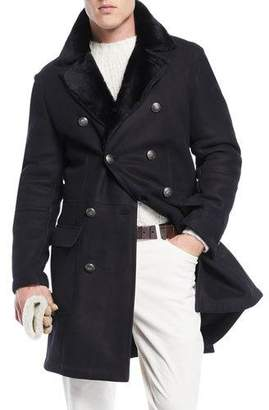 Brunello Cucinelli Men's Fur-Lined Double-Breasted Overcoat