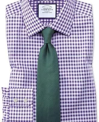 Charles Tyrwhitt Classic fit non-iron gingham purple shirt