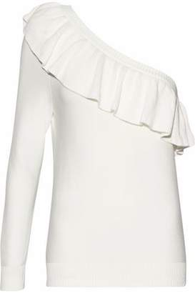Rebecca Minkoff Stacey One-Shoulder Ruffled Cotton-Blend Sweater