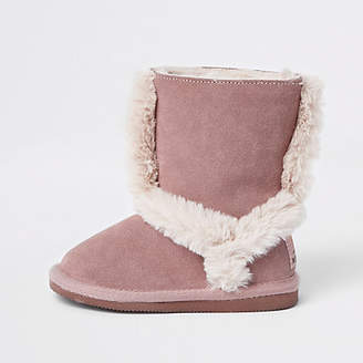 River Island Mini girls pink suede fur lined ankle boots