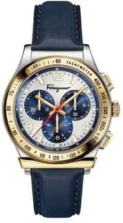 Salvatore Ferragamo 1898 Chrono Stainless Steel Leather-Strap Watch