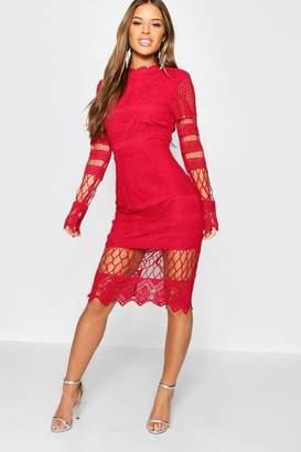 boohoo Petite Lace Panelled Midi Dress