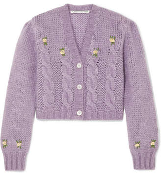 Alessandra Rich Cropped Embroidered Cable-knit Alpaca-blend Cardigan - Lilac