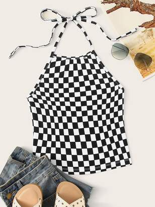 Shein Checked Print Knot Backless Halter Top