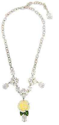 Dolce & Gabbana White Rose Crystal Necklace - Womens - White