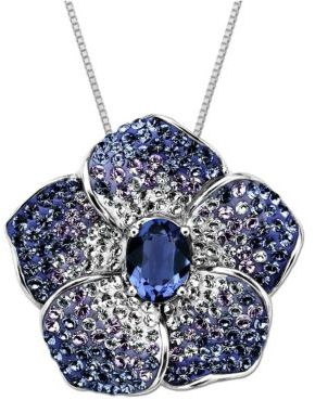 Lord & Taylor Sterling Silver Violet Colored Crystal Flower Necklace