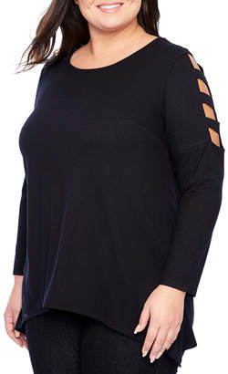 Alyx Long Sleeve Scoop Neck Knit Blouse - Plus