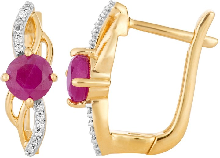 10k Gold Ruby & Diamond Accent Latch Back Earrings