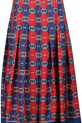 Gucci GG waves pleated silk skirt