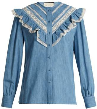 Gucci Lace Trimmed Ruffle Cotton Chambray Blouse - Womens - Light Blue