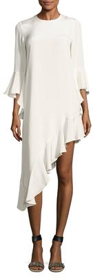 AlexisHazel Silk Flounce Sleeve Asymmetrical Dress