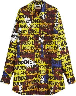 Burberry Graffiti Print Stretch-cotton Shirt