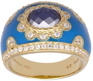 Judith Ripka 14K Clad Rock Crystal Diamonique Enamel Ring
