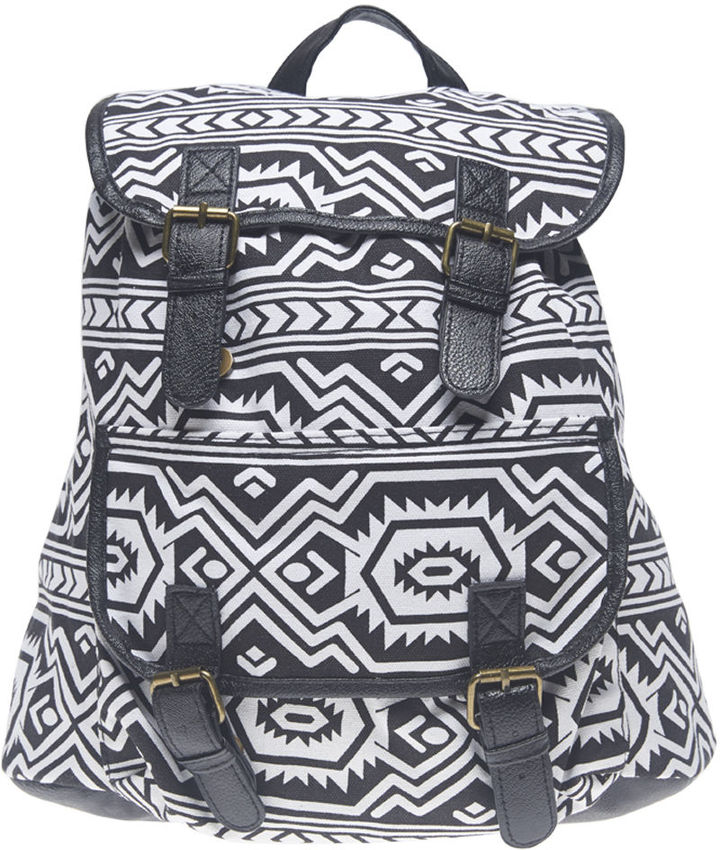 Wet Seal Tribal Print Canvas Backpack