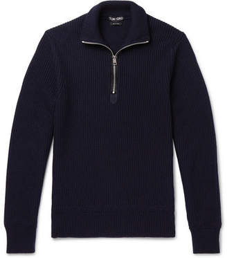 Tom Ford Ribbed Wool and Cashmere-Blend Half-Zip Sweater - Men - Navy