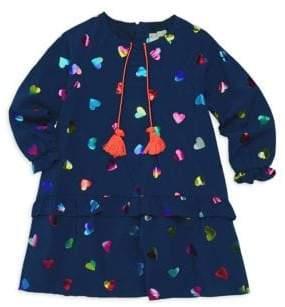 Billieblush Toddler& Little Girl's Heart Print Ruffle Dress