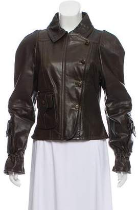 Fendi Collared Leather Jacket w/ Tags