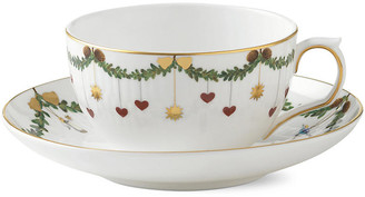 Royal Copenhagen Star Fluted Teacup & Saucer Set - White