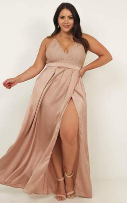 Showpo Inspired Tribe Maxi Dress in mocha satin - 18 (XXXL) Dresses