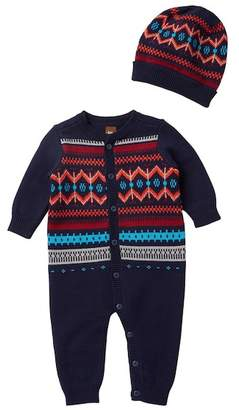 Tea Collection Niall Sweater Romper & Hat Set (Baby Boys)
