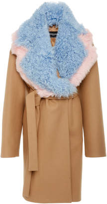 Rochas Detachable Shearling-Trimmed Wool-Blend Coat