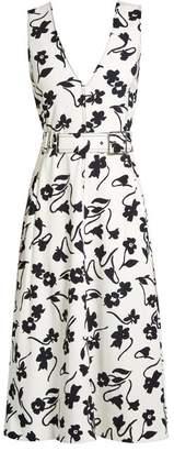 Altuzarra Helen V Neck Floral Print Crepe Cady Midi Dress - Womens - White Print