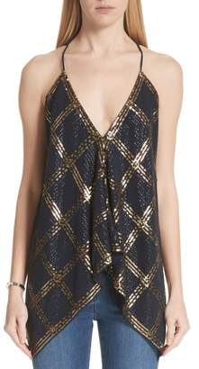 St. John Sequined Stretch Silk Georgette Handkerchief Top