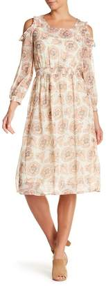 Lucky Brand Cold Shoulder Garden Midi Dress