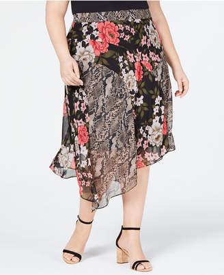 INC International Concepts I.n.c. Plus Size Mix-Print Floral Midi Skirt