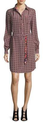 Trina Turk Fairfax Foulard Long-Sleeve Printed Shirtdress